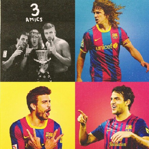 dayanashel:  The moc moc team! Puyi, geri, cesc. #LOL #bromance #trio #bestfriends #footballer #football #spain #barcelona #barca #catalan #mocmoc #puyol #pique #fabregas #loveit (Taken with Instagram)
