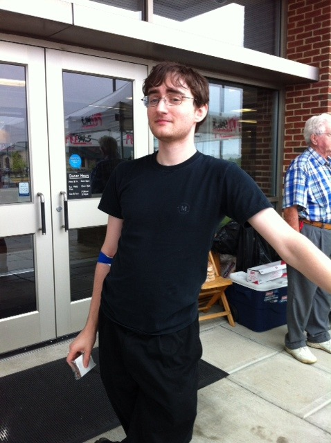 Whoa! Harry Potter stopped by to give blood today! Ok, so that's not really him. We still appreciate donations of non-magical blood.