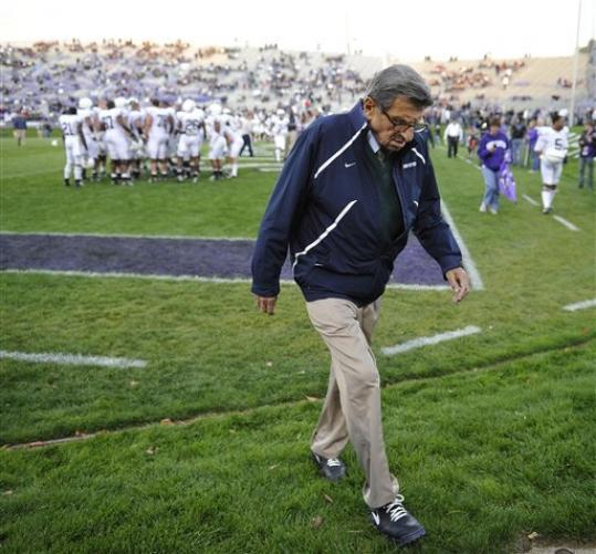 EDITORIAL Penn State report: The shame of Joe Paterno  The university can and should take down its statue of Paterno, but it will be much harder to get rid of the suffering his cult left behind. (AP Photo/Jim Prisching)