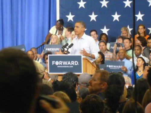 "President Barack Obama seeks to energize supporters at campaign rally in Virginia Beach campaign rally. ""I see myself in you,"" Obama tells supporters, ""I believed in you (in 2008) and hope you still believe in me."" (Photo taken by CBS Radio News' Mark Knoller)"