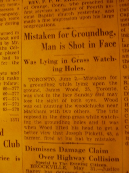 "Man Mistaken for Groundhog Shot in Face Ol' James ""Groundhog Face"" Wood they used to call him."