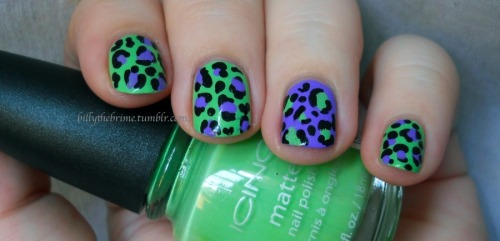 Toxic Leopard. Colors Used: Icing Matte- Bamboozled Again Cosmetic Arts- Frenzy (more blue toned in person) L.A. Colors- Circuits **Don't forget to vote for Rainbow Brite everyday!**