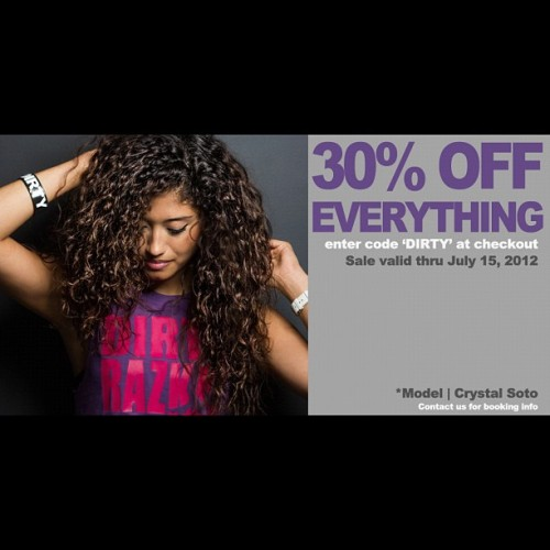 "2DAYS LEFT!! 30% OFF EVERYTHING THRU 7/15/12!!! Enter code ""DIRTY"" at checkout! WWW.DIRTYRAZKAL.COM #snapback #urbanfashion #varsity #jacket #dope #dirtyrazkal #shirt #urban #tee #sale #tshirt #tshirts #swag #style #streetwear #streetstyle #dopeness #fashion #ig #brand #gear #hot #new#apparel #clothing #grunge #dirtyrazkal  (Taken with Instagram)"