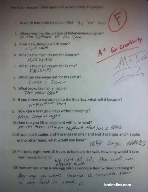 mikebyster:  A clever approach to an exam… A+ for creativity