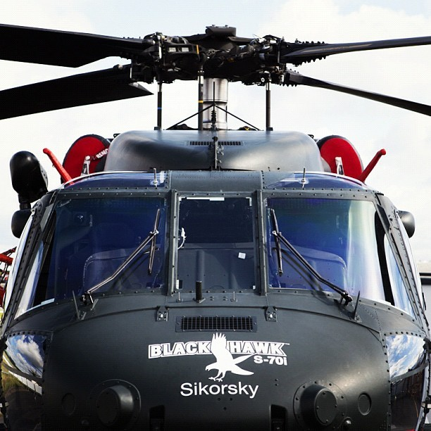 The Sikorsky Black Hawk, powered by #GE #Aviation's T700 #engine. Shot by @adamsenatori. #helicopter #FIA12 #avgeek #military #technology (Taken with Instagram)