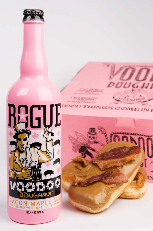 laughingsquid:  Voodoo Doughnut Bacon Maple Ale by Rogue Ales  … and it's pink.