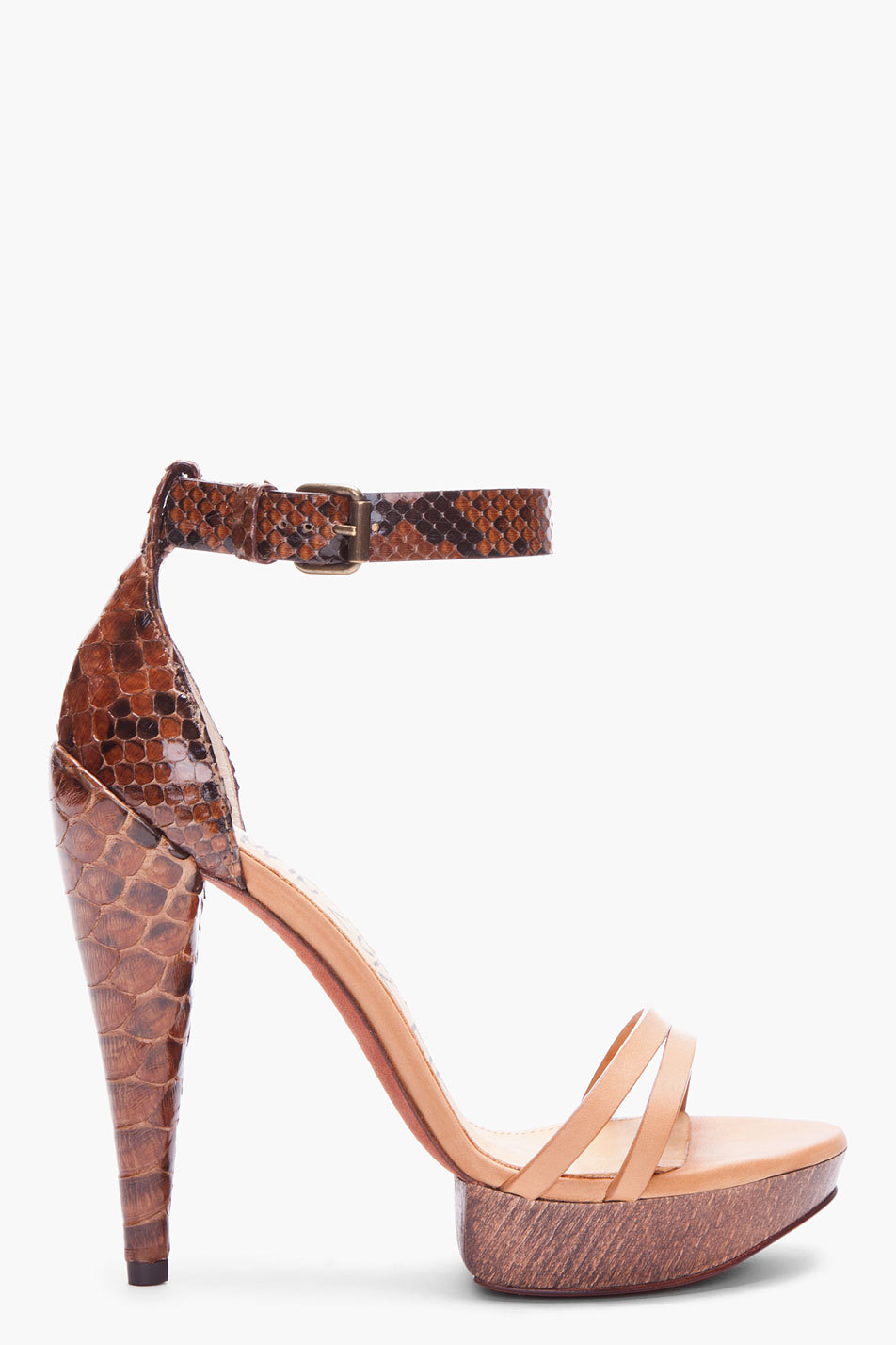 "LANVIN // Brown Python Skin Heels Scaled python skin heels in dark brown, black and beige. Open toe. Adjustable strap at ankle. Tone on tone stitching. Approx. 1.25"" platform, 5"" heel. Upper: 50% python skin, 50% leather. Sole: 100% suede. http://www.ssense.com/"