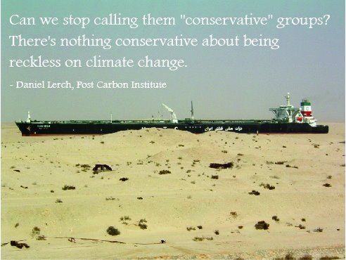 It's Gettin' Hot in Here: Conservatives & Climate Change (Source: Post Carbon Institute) Related: 'The Science of Truthiness: Why Conservatives Deny Global Warming' (DeSmogBlog) Interview: Naomi Oreskes - 'Neoliberalism and the Denial of Global Warming' (Point of Inquiry) 'Conservative think tanks step up attacks against Obama's clean energy strategy' (The Guardian)