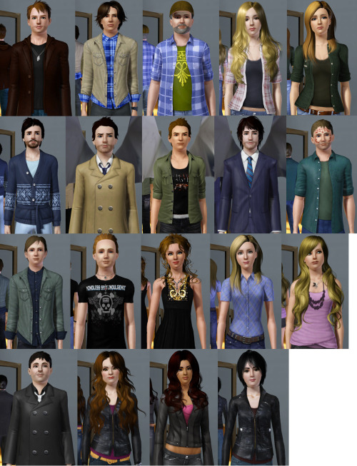 deanwinchester67:  (large view is best view :3 ) All of my Supernatural Sims so far! The pictures are not all the same size, which is why some of the sims look smaller than others. I assure you that Chuck and Cas are actually the same size and that Ash's head isn't ten times larger than Adam's. Also I need to redo Gabriel, Jess, and Crowley because I made them a long time ago and they kind of suck. Top row left to right: Dean, Sam, Bobby, Jo, Ellen Second row left to right: Chuck, Castiel, Gabriel, Inias, Lucifer Third row left to right: Adam, Ash, Bela, Becky, Jess Bottom row left to right: Crowley, Meg, Ruby, Tessa