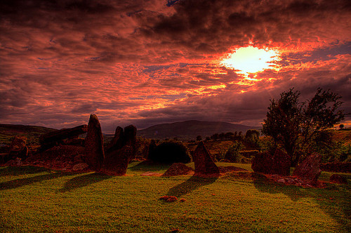 Clontygora Court tomb by Irishphotographer on Flickr.Via Flickr: Clontygora Court tomb is beautifully situated on a hillside in South Armagh, it is Y shaped with a large burial gallery at the centre. Some of the stones that line the forecourt look quite spectacular, the highest reaching about two and a half metres, The size of the cairn that enclosed this tomb is difficult to make out. The tomb was excavated in 1937 and evidence of cremations were found amongst other neolithic artifacts.