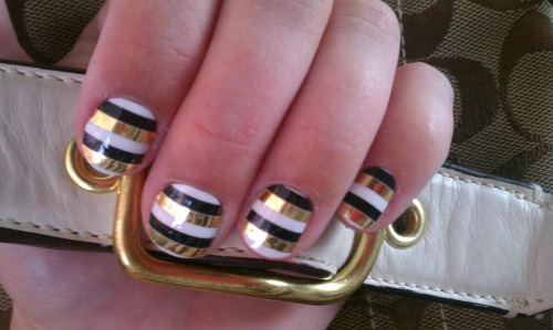 black white gold stripe metallic #nailart on coach purse gold buckle manicure jamberry nail art in action (by Noel Giger in DFW, Jamberry Independent Star Consu)