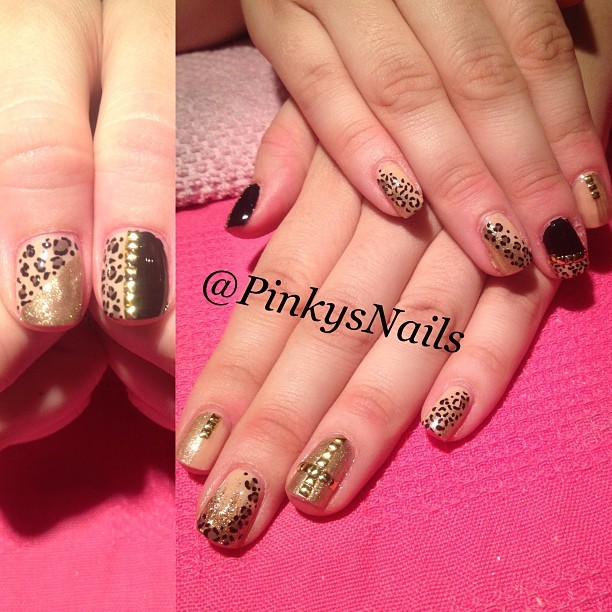 A gold, nude and black luxe manicure by Jen (Taken with Instagram)