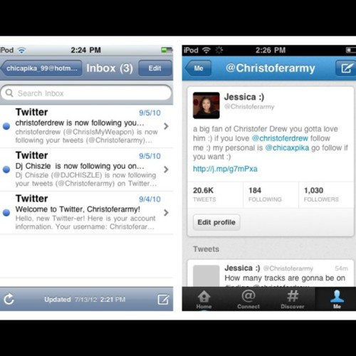 I made my @christoferarmy twitter account in September of 2010 and got my first two followers the next day :) now I have over 1000 followers :) I'm grateful but hey go follow me :) #twitter #followers #christoferdrew #christofer #drew #ingle #Chris #drew #nevershoutnever #followme (Taken with Instagram)