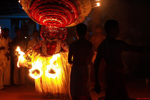 Theyyam at Mathikavu | Thalasserry by vineeth.ys on Flickr. theyyam india travel people festival carnival face make-up body painting
