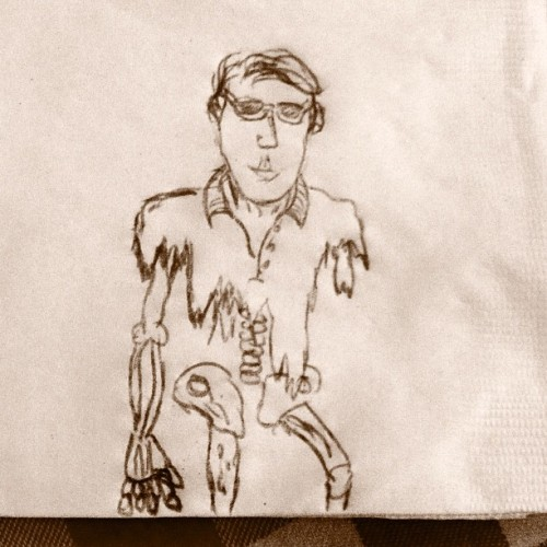 "Brian said he was drawing me as a cartoon. When he handed me this, I said, ""What happened?"" He said, ""Dunno. We found you on the side of the road."" #cartoon #drawing #undead #wtf #roma #personal #pics  (Taken with Instagram at Roma D' Italia Tustin)"