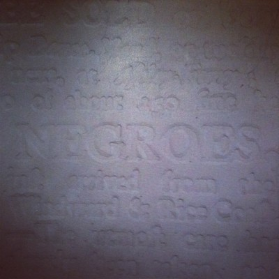 hellayego:  Blind Embossed Slave Poster. @hankwthomas #serious #shit #sightings #art #dropshadow #print #letterpress #uncomfortable #subjects (Taken with Instagram)