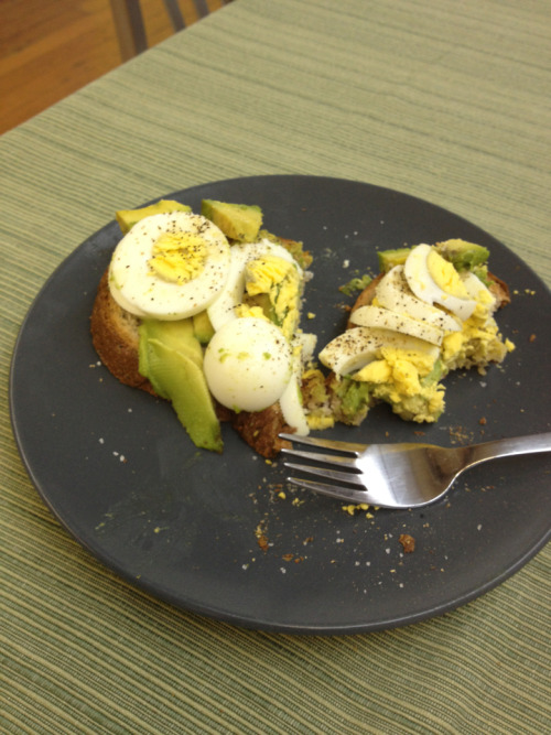 Yummy avocado and hard boiled egg toast! Made in the office!