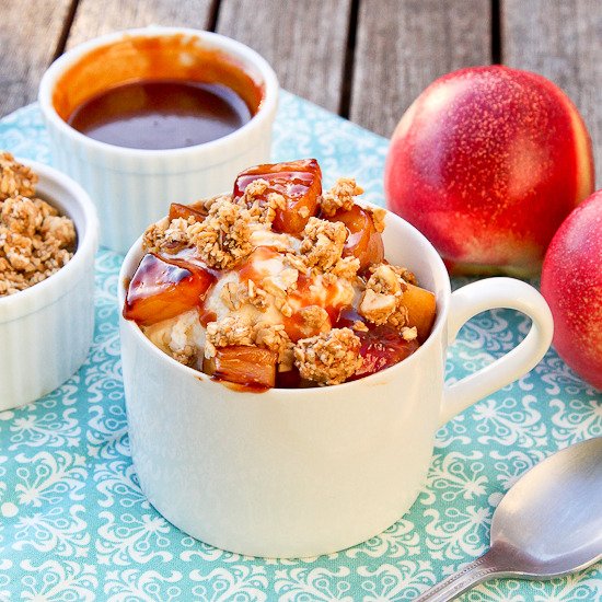 bakeddd:  warm caramel nectarine and granola sundaes click here for recipe