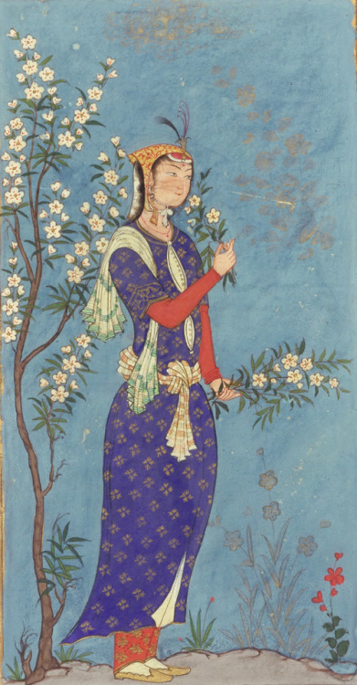 timur-i-lang:  Woman with a Spray of Flowers, ca. 1575
