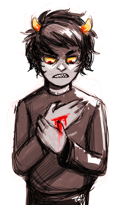 day 3: fav troll couldn't decide between either aradia or karkat, but I had this doodle laying around soooo sorry aradia