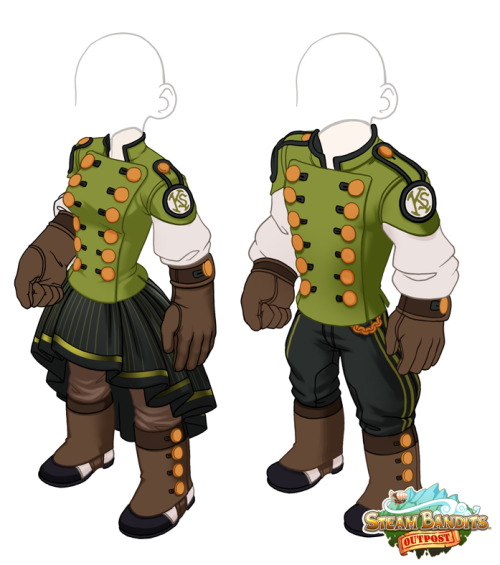 psdo:  A WIP of the Kickstarter backer reward outfit! Each is a separate top (shirt/gloves) and bottom (pants/shoes) to make your character look hella spiffy. steambanditsoutpost.com