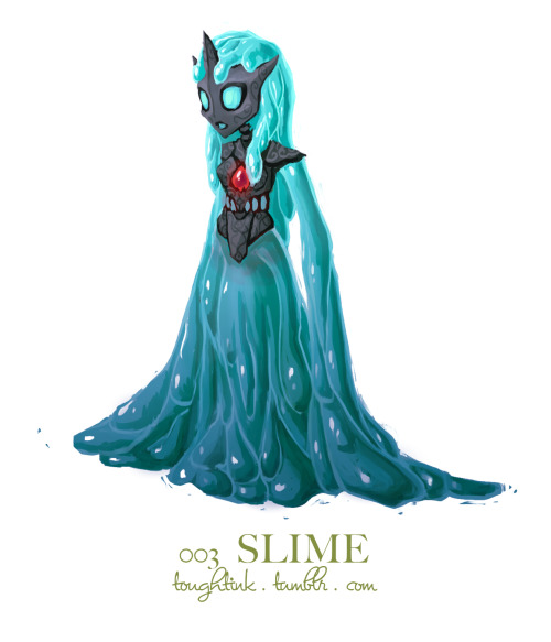 day 3: slime! my first version for this one had a skeleton surrounded by translucent green slime, but it wasn't working. and then i remembered this idea i had before i fell asleep last night to give her a sort of stone exoskeleton. she looks kinda scifi alien slime princess now, and that's just fine. PRINCESS OF THE SLIME PEOPLE.