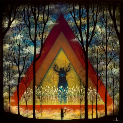 rhamphotheca:  blackkittenclan: Summoning the Dusken Wanderer by Andy Kehoe     (via: Andy Kehoe Art)