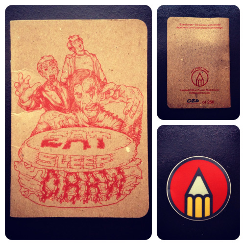 "jakeholla: got my limited edition ""Zomburger"" EatSleepDraw pocket sketchbook in the mail today! can't wait to start using it. ——— Limited edition. Always free global shipping. Check em out"