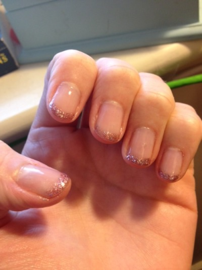 First try. French tips for french kissing, pink glitter for queer femme.