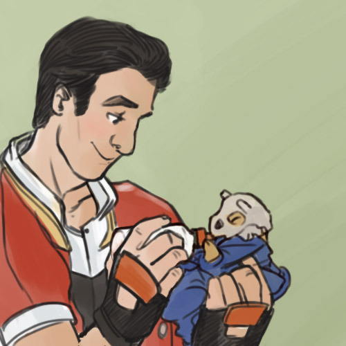 dinojay:  I COULDN'T RESIST. Blaine the Pokemon Ranger and his baby cubone ;________;