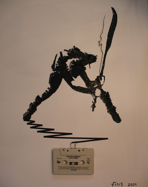 lafilmnikita:  Portraits of musicians made out of cassette tapes. And of this image? I just got my shit rocked, big time. (One more.) Props, again, to The Strut.