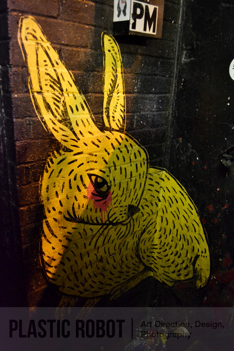 The Rabbit ClubMy favourite rabbit hole in NY.Rabbit paster by Abel Marcias.New York, July 13, 2012.