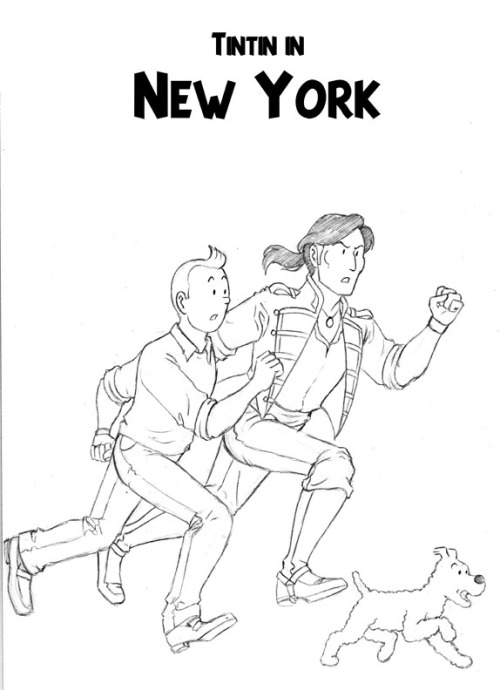 Tintin in New York, with special guests the Witch of New York and James Cooper. Also known as:  Tintin doing a lot of running.  Lots, and LOTS of running.  (what's new?) This most likely happens after the incident with the Picaros and the Alph-Art.  He's still in the pants (sorry, plus-fours worshippers). Side tangent:  It's interesting how, as Tintin aged (evolved?) his hairline advanced forward on his head- sort of reverse receding hairline.  His jaw/head also becomes more defined/squareish, and his 'blank features' get more detail.  I *love* these evolutions in Herge's work, as we get to see Tintin become more and more defined. (and yes, this is the picture I was drawing when the guy was hitting on me at work.  *sob*)