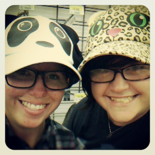 Panda and leopard hats! (Taken with Instagram)