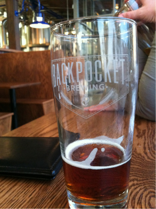 Finishing a Dunkel during my first visit to Backpocket Brewing in Coralville.
