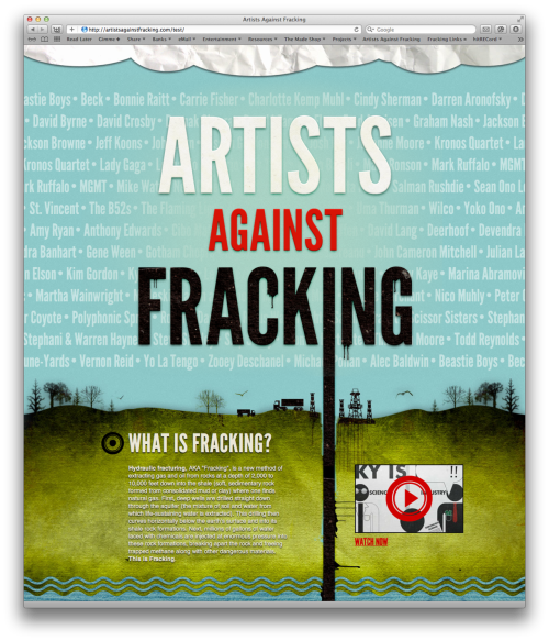 "hitrecordjoe:  themadeshop:  Artists Against Fracking The Made Shop has been working feverishly the past two weeks with Sean Lennon and Yuka Honda and Jared Geller and Yoko Ono and an innumerable list of other artists in New York to put together a campaign to urge New York's Governor Cuomo to ban hydraulic fracturing (""fracking"") in New York State. Sean & Yoko will be on Jimmy Fallon tonight which I'm told is going to be well worth watching. Please help spread the word, check out the website to learn more about fracking and why it is a dangerous and terribly bad idea, and contact Governor Cuomo to voice your opinion.  Last night, a group of like-minded artists launched a campaign to stand up against the devastation that will be caused if hydraulic fracturing (fracking) legislation is passed in places like New York. Please check out the site here for a RENEWABLE NEW YORK.  One of the best uses of League Gothic we've seen, and we entirely support this opposition. Spread it."