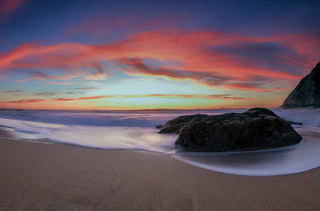 Gray Whale Cove Sunset on Flickr.Via Flickr: Another old shot I found when looking through my library. Canon 7D 8-15mm f/4 Fisheye ISO 100 f/22 2.0 Seconds.  Buy this shot here: tobyharriman.smugmug.com/Photography/Seascapes/21108547_M… [www.tobyharriman.com] [facebook] [Google+] [Tumblr] [Twitter] [redbubble]View on Black © Toby Harriman all images Creative Commons Noncommercial. Please contact me before use in any publication.