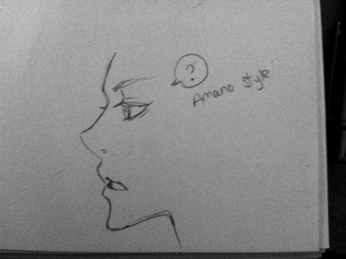 Trying to draw profiles in Amano's style lol. I really admire how all her faces have this nice depth to them. Her chins are REALLY pointy though haha. I'm dying to see Amano draw any kind of BL; it would be so beautiful. Too bad it's never gonna happen. orz