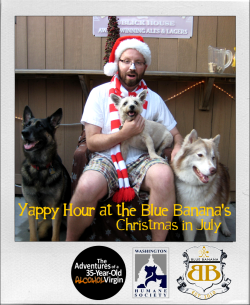 The absolute best Yappy Hour at the Blue Banana yet! Over 20 dogs, dozens of owners, lots of money raised for the Washington Humane Society, and tons of fun with my handsome husband posing with the pups as Summer Santa! If you want to see all the Santa fun photos, check them out HERE! Woof!