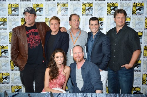 suicideblonde:  Adam Baldwin, Alan Tudyk, writer Tim Minear, Sean Maher, Nathan Fillion, Summer Glau and Joss Whedon at the Firefly 10th Anniversary Reunion press conference at San Diego Comic-Con, July 13th