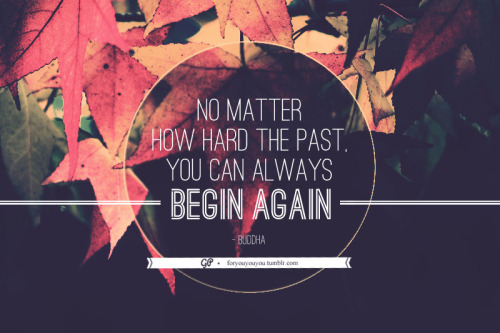 """No matter how hard the past, you can always begin again"" - Buddha"