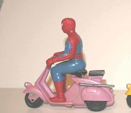 wat. Spider-Man on a pink vespa (via dudesmacdougal)