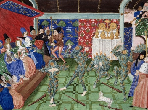 "savage-america:  Bal des Ardents great featured article on wikipedia today, check it out.   Caption note at Wikipedia: ""The Bal des Ardents depicted in a 15th-century miniature from Froissart's Chronicles. The Duchess of Berry holds her blue skirts over a barely visible Charles VI of France as the dancers tear at their burning costumes. One dancer has leapt into the wine vat; in the gallery above, musicians continue to play."""
