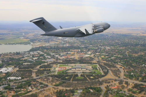 First Boeing C-17 Globemaster III to enter RAAF service, flying over Canberra