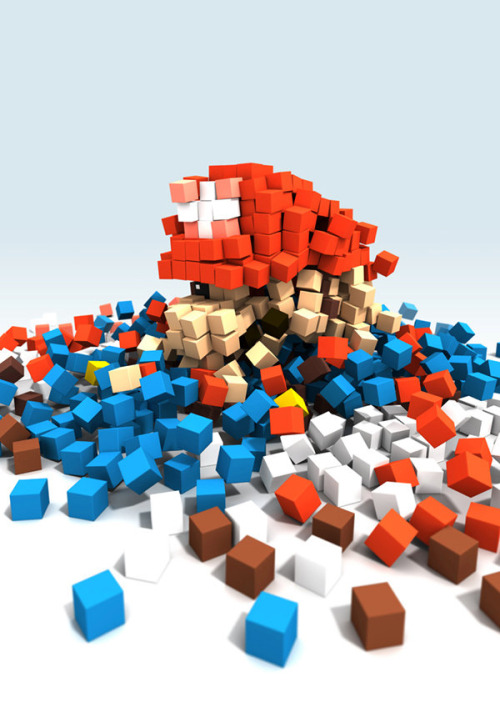 .Abstract Pixelated Mario  by DirtyGreatPixelsUK