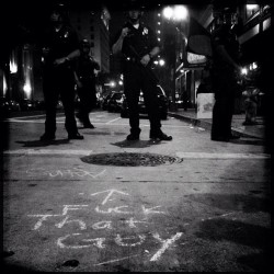 #fuck #thatguy. #LA #riot in #downtown. #police #bw #photography #hipstamatic #artwalk #chalkwalk #art #walk #chalk (Taken with Instagram)