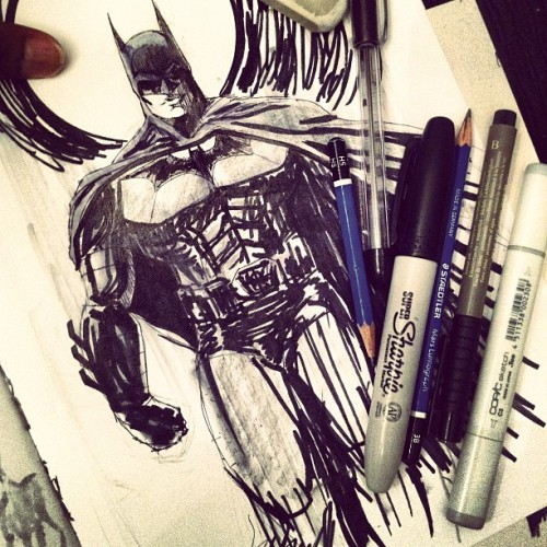 Can't take the wait anymore. #batman #sketch #copic #ink #pencil #ruff #speedsketch #darkknightrises #calvinclyke  (Taken with Instagram)