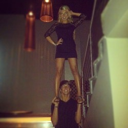 whitneyrosesharpe:  hahaha loved stunting with Kemal last night in the middle of a Boston club… everyone was staring for sure lol