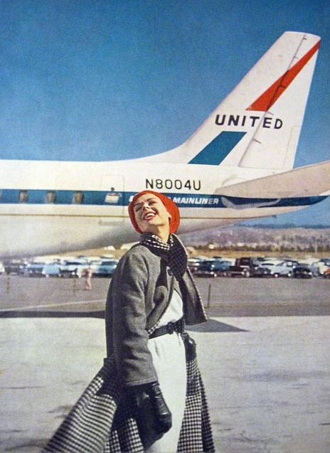 "upilufti:  Vogue — Travel in Style — 1959  United DC-8 ""Friendship""   I think this was back when they called them ""Jet Mainliners"" before they called them ""Friendships""."
