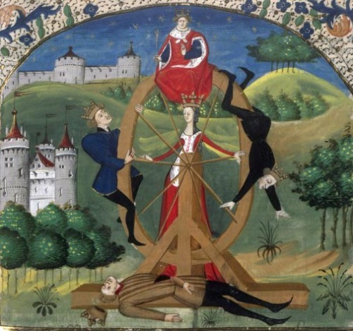 Bibliothèque nationale de France, Français 43, f. 37 (wheel of fortune). Valerius Maximus, Facta et dicta memorabilia . France, mid-15th century.